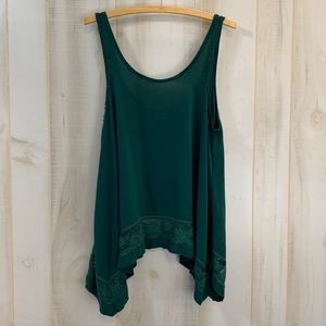 Intimately Free People Green Tank Top XS Lace Trim